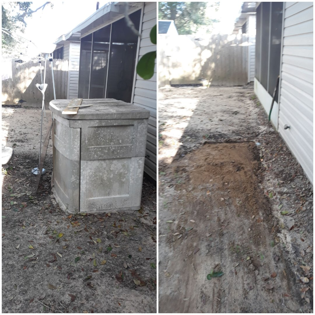 Customer want this old plastic shed removal from her backyard today.