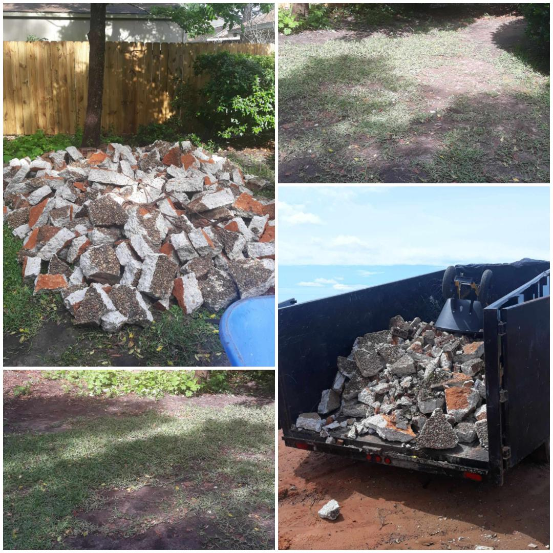 Removing broken concrete and hauled to the landfill for disposal.  Before and after pictures.