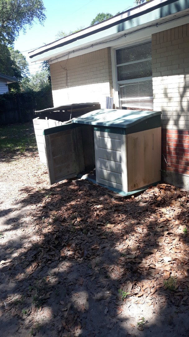 Just finish removing old storge shed and trash debris from customer backyard