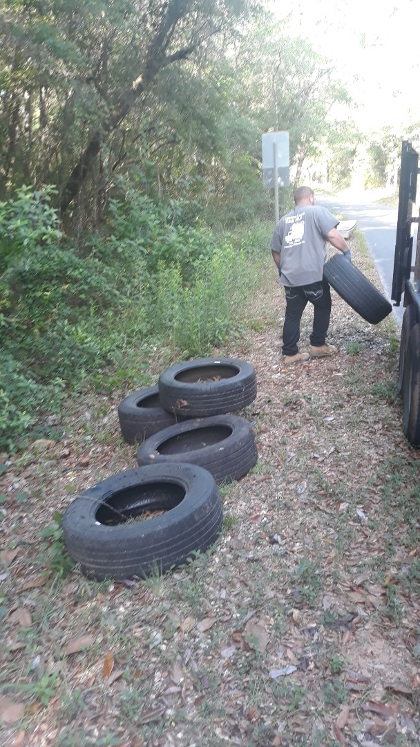 Good morning we was out picking up some tires that  somebody illegally dumped on the side of the road