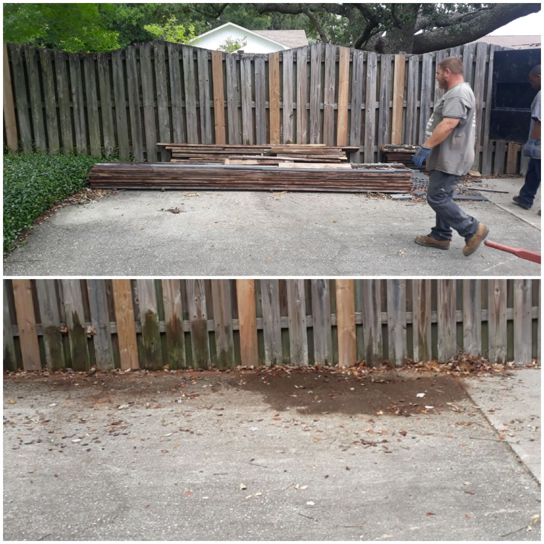 Just finish cleaning a customer backyard today remove wood and other trash debris he want gone