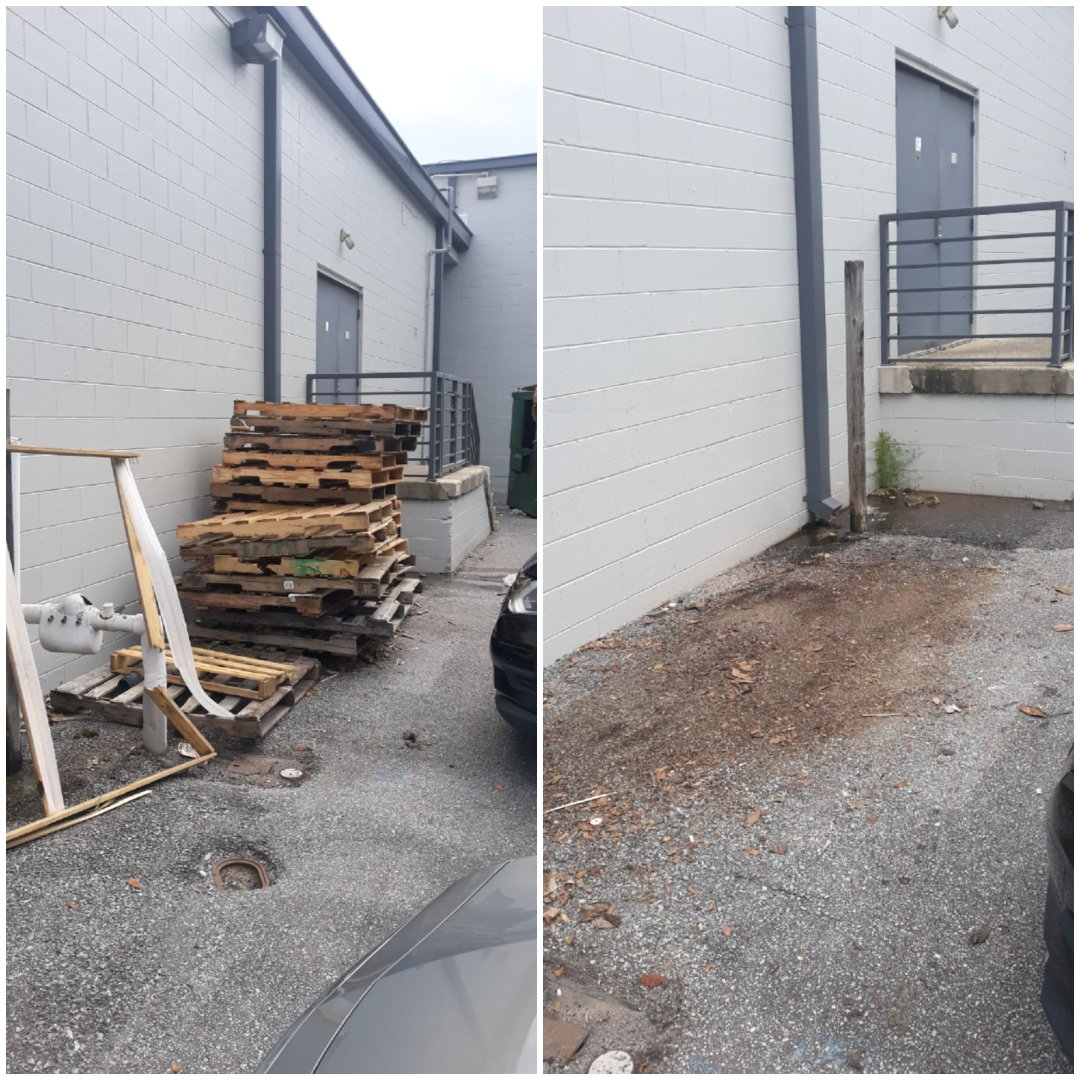 Good morning just finish remove pallets and trash debris from a local retail store here in Pensacola fl
