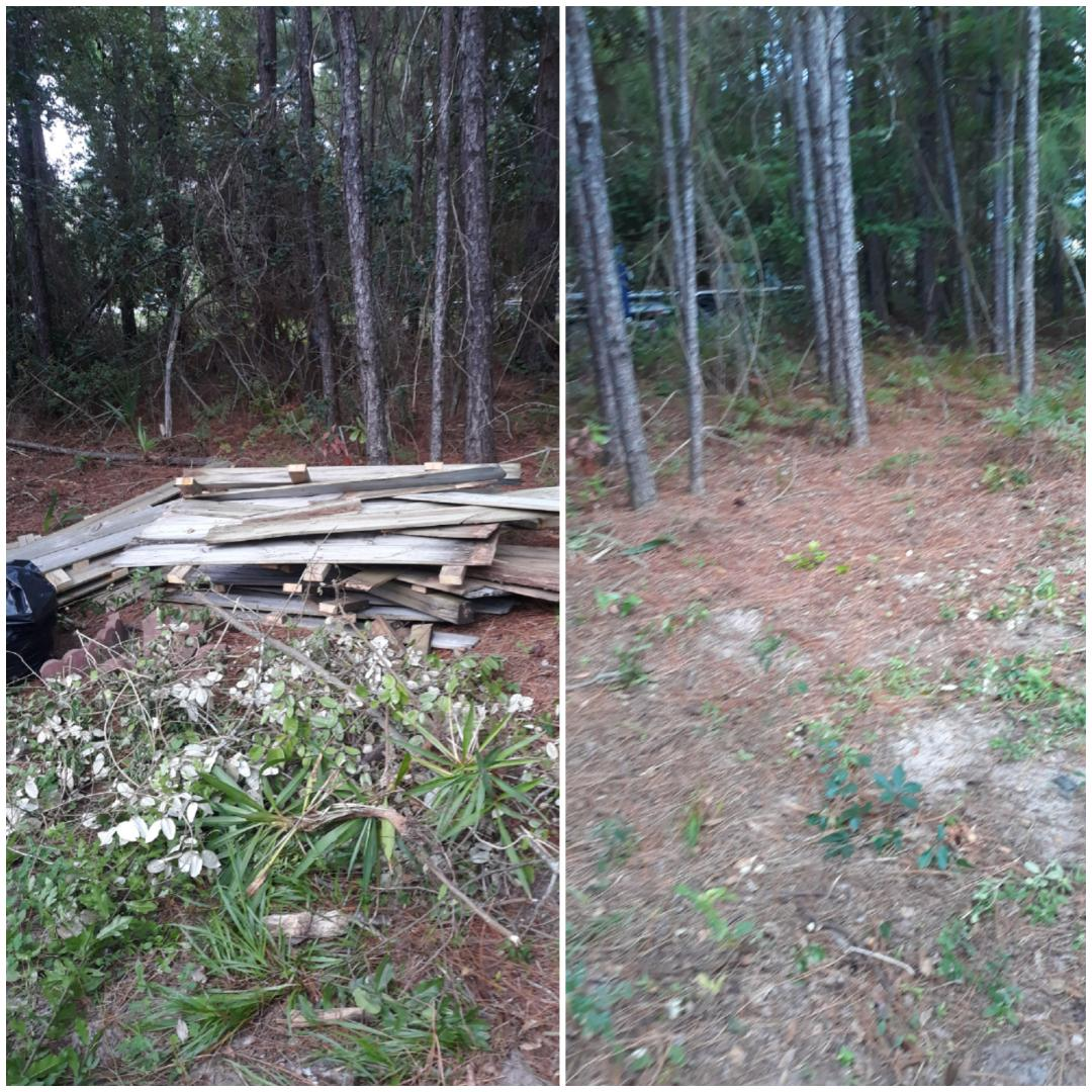 Over here in Gulf Breeze remove old fence woods and trash debris from customer backyard today