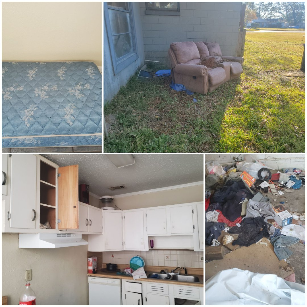 Landlord was stuck with some miscellaneous debris left by tenant at rental property in West Pensacola.  Our junk removal services will clean out the items and haul it to the landfill for proper disposal.  The items included appliances mattress and couches along with trash throughout the house.