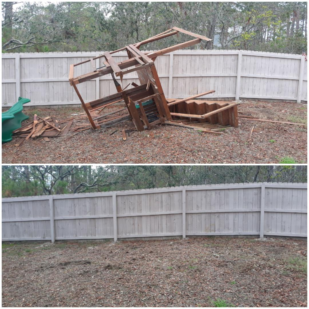 Just finished demoing and removing old swing for customer in their backyard today