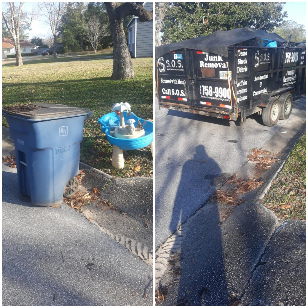 Just finish removal old trash can and toys for customer