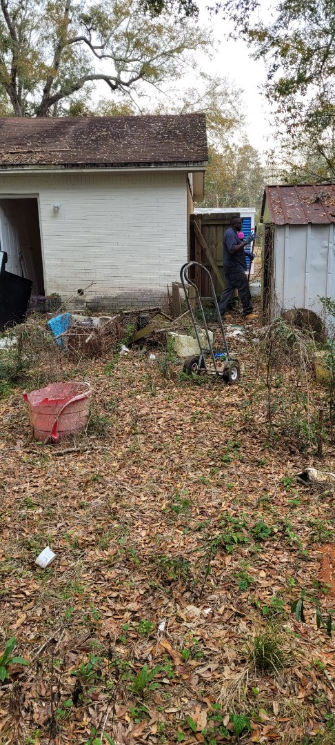 Backyard check up for inventor all trash and debris going.