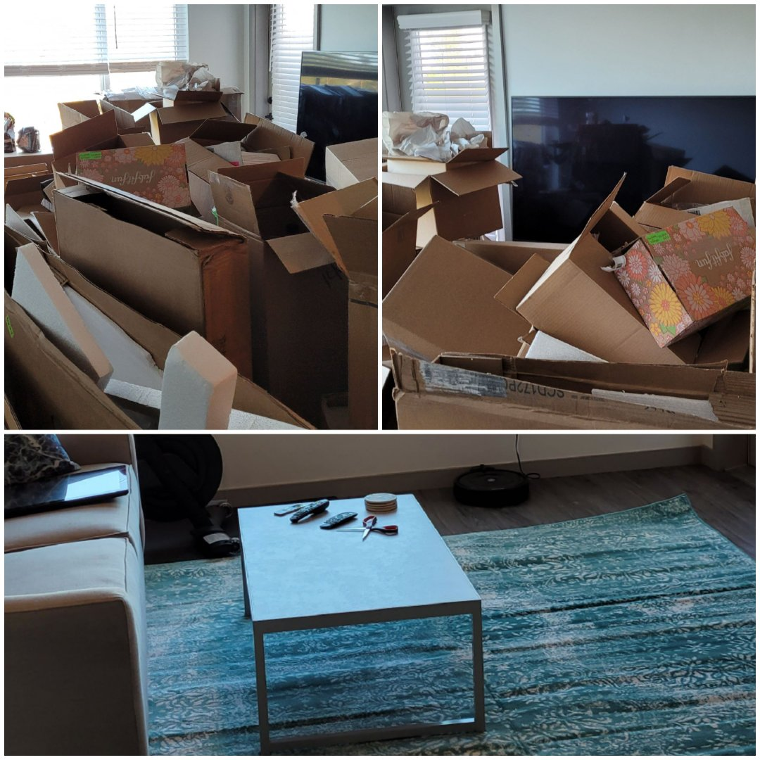 Just finished removing a lot of boxes and trash out of customer apartment today...