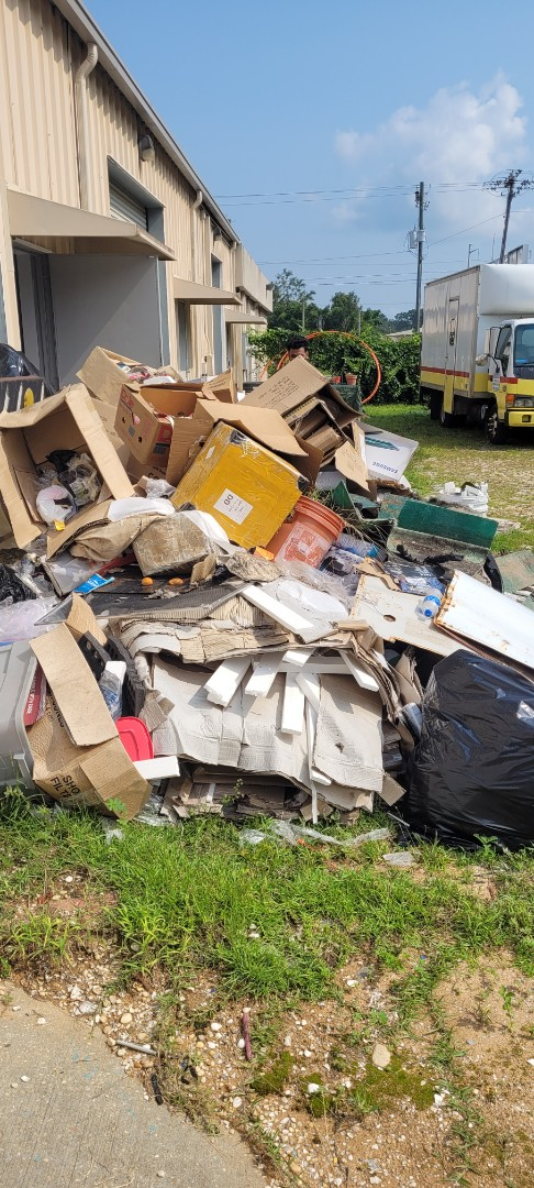 We are here today to give a quote on removal of all this trash from customer property