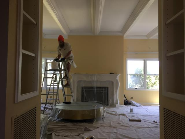 Los Gatos, CA - Interior residential painting. Family Room. Custom colors. Oil based trim. Coffered ceiling.