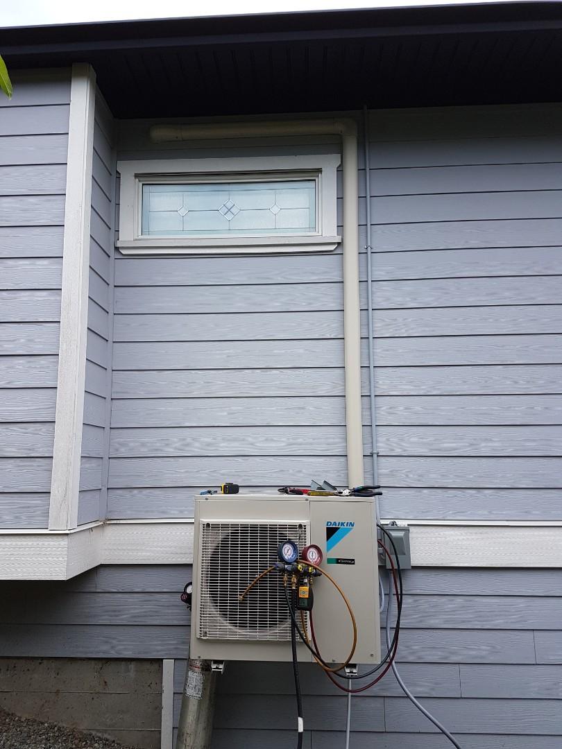 Cowichan Bay, BC - Installing a Ductless Daikin Heat Pump.