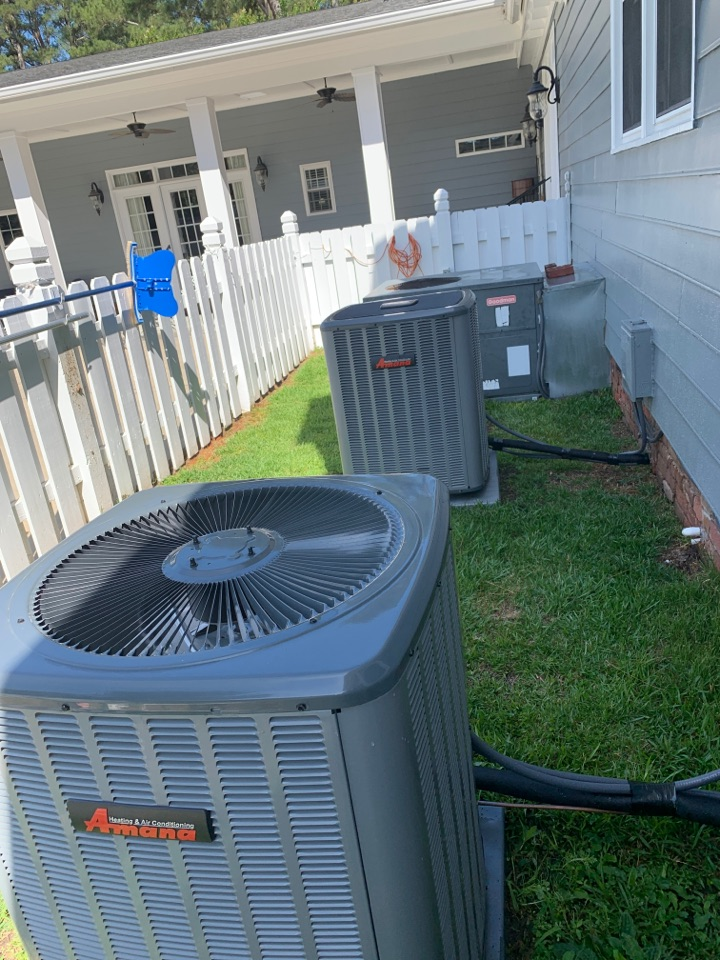 Smithfield, NC - Performed maintenance on 2 Amana split systems, and 1 Goodman package unit