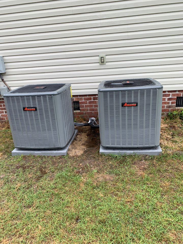 Fremont, NC - Installation of 2 Amana split systems and 2 Iwave air purifiers