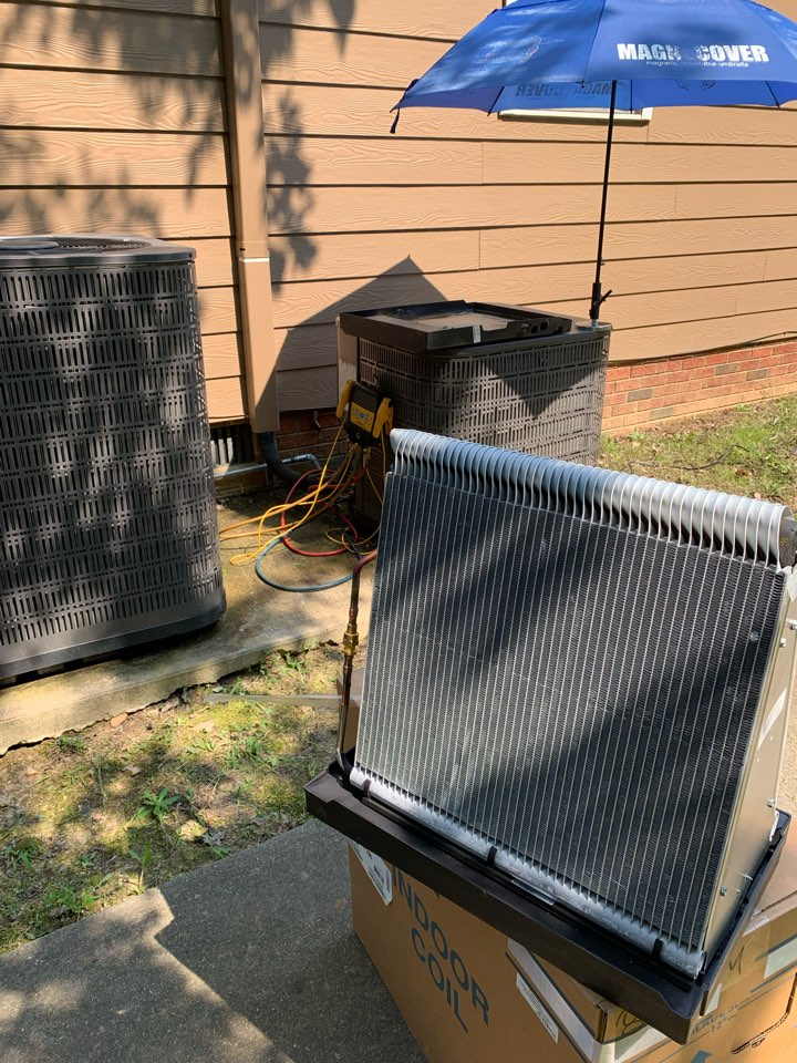 Replaced indoor coil for new customer under warranty of system from second floor