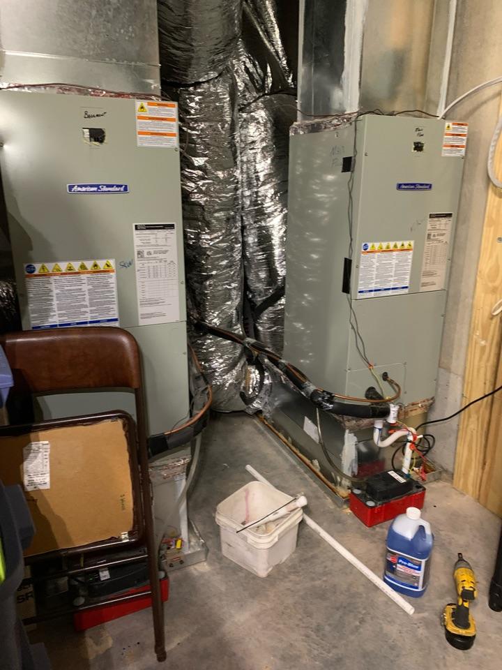 Clayton, NC - Water leak at basement floor of AHU American Standard