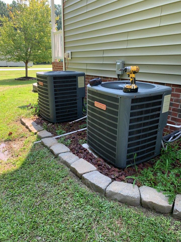 Smithfield, NC - Not cooling call Goodman heat pump split system does first floor