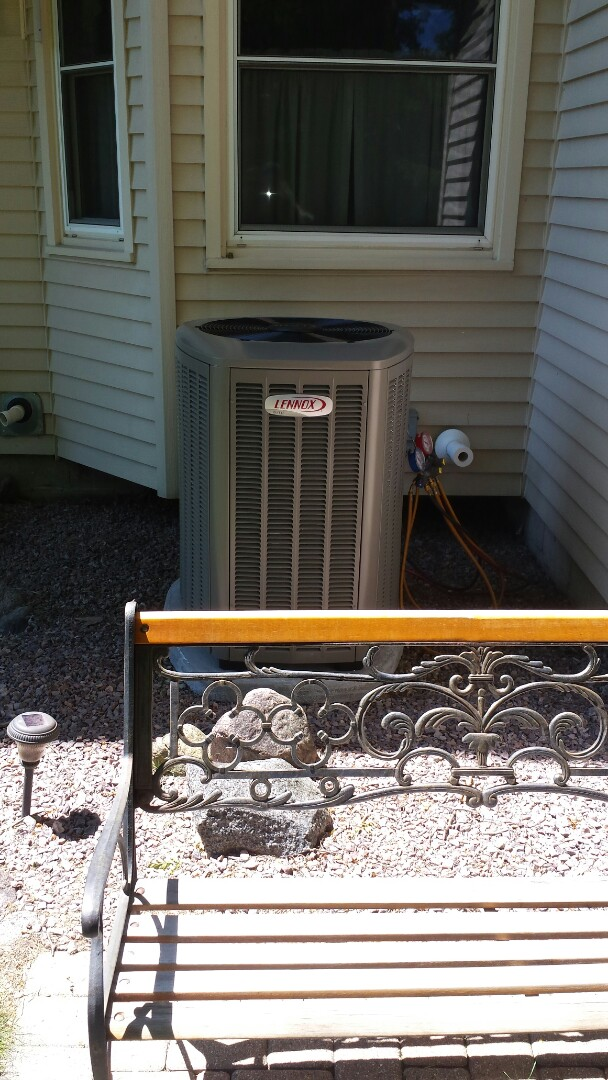Caledonia, WI - New Lennox Air conditioner install. Old one has been out of commission for days. Nice to get some cold air.