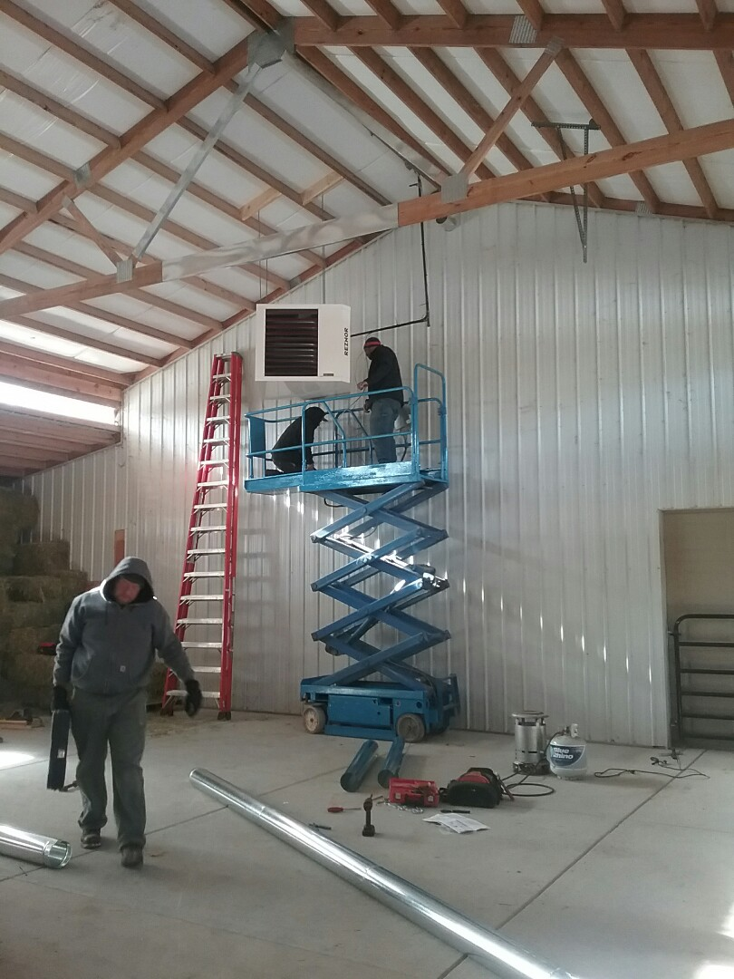Your local service and install experts.  Installing a new barn heater Reznor.   Your home experts in comfort. 24 hour emergency service.