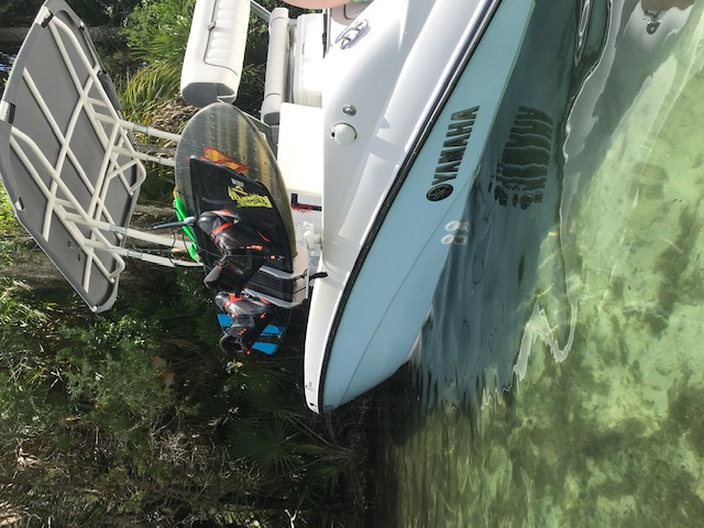 Belle Isle, FL - Decks are for passengers, not boards.  Manta Racks' B2 safely & securely carries wakeboards, wake surfboards, wake skates, kiteboards, kneeboards, & surfboards. Get your boards off the floor.