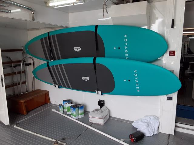 We now have rack systems to store your SUP's & kayaks in your Yacht's toy room.