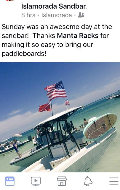 Take your boards to the sandbar or your favorite fishing spot.  Go further with Manta Racks.