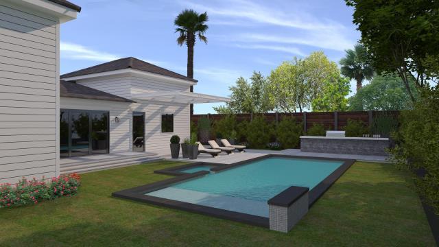 Los Angeles, CA - Backyard remodeling - 3D design