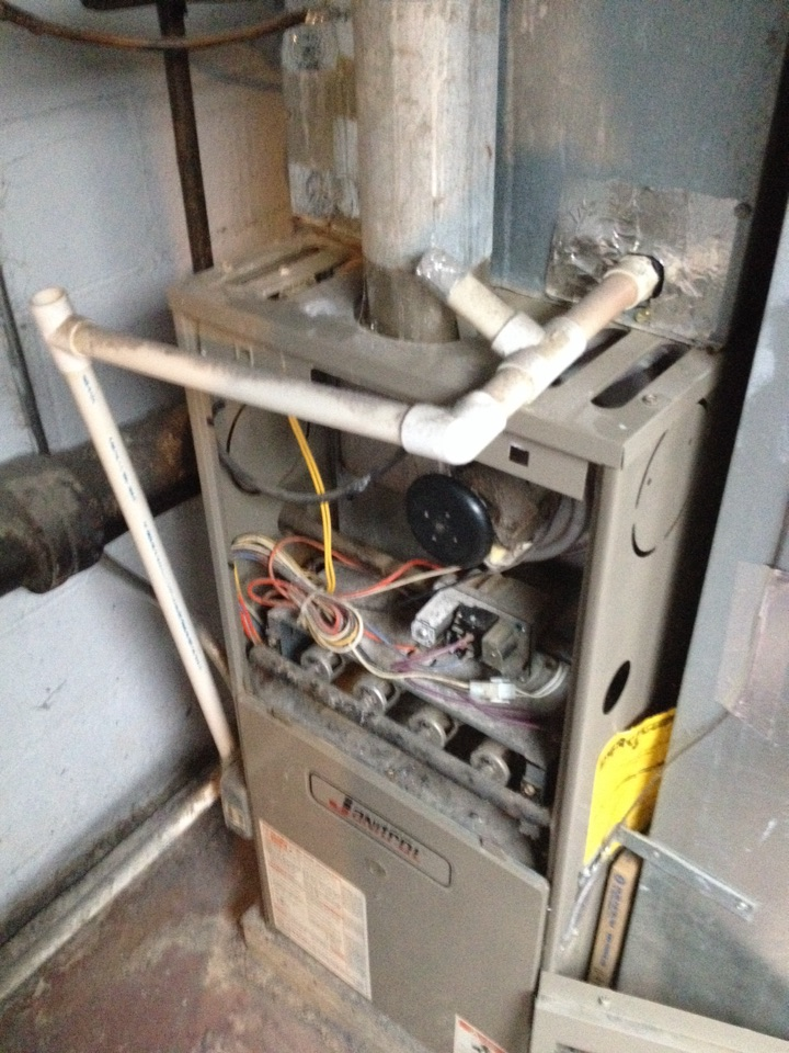 Manhattan, IL - Clean and check on Janitrol furnace but found cracks in the heat exchanger so had to condemn it