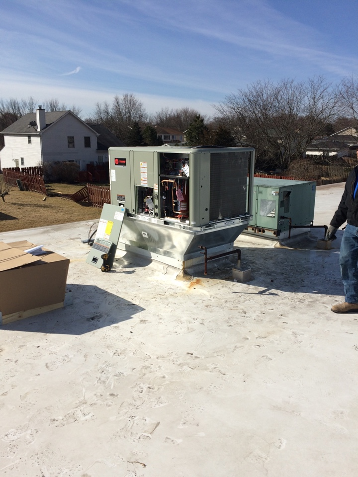 Crete, IL - Trane business heater.  Combination air conditioner and furnace called a roof top unit.