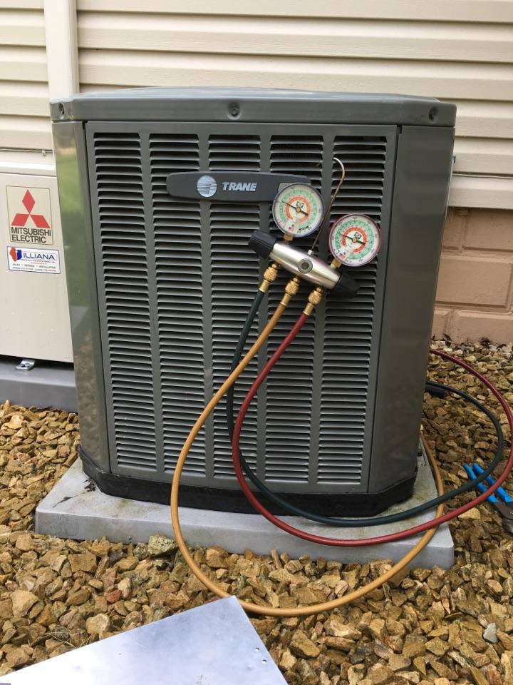 Crete, IL - Clean and check on Trane air conditioner