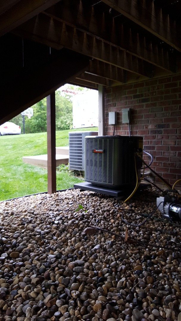 New Lenox, IL - AC installation call. Replacing existing AC unit with brand new Amana a/c and coil