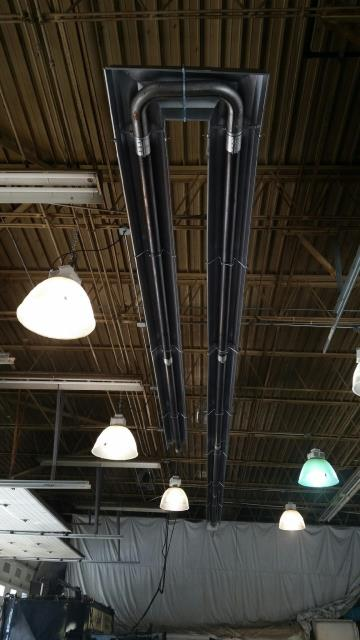 Chicago Heights, IL - Heating installation call. Installing three (3) 60 ft. Reznor Infra-red tube heating at a commercial location.