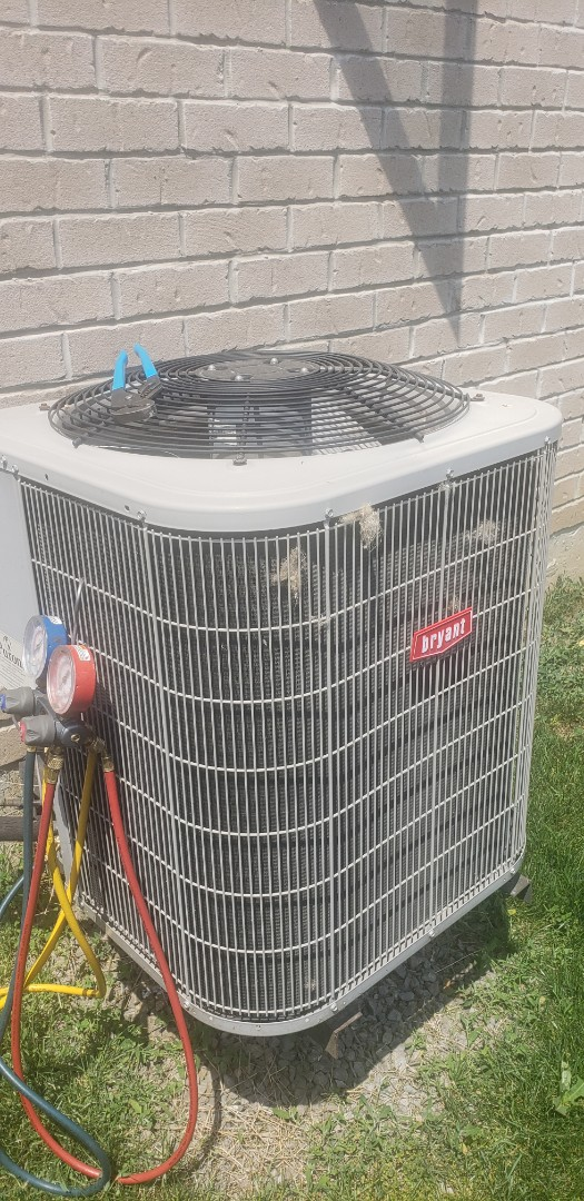 Performing yearly maintenance on a Bryant 3 ton air conditioner in Mississauga.