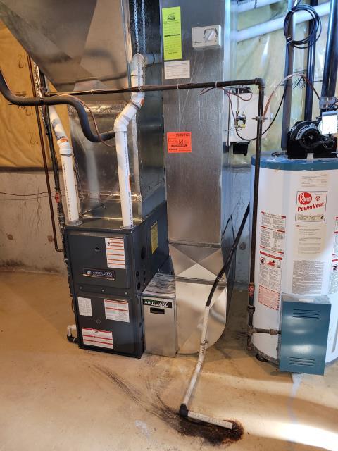 Installed a Goodman 96% efficient 2 stage GMVC960803BN 80,000 BTU variable speed motor furnace in Ajax, Ontario.