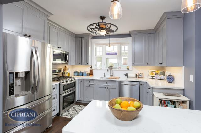 "Oaklyn, NJ - Doug & Amy came to us looking to update their outdated Oaklyn, NJ kitchen. Melissa gave them a design they loved, incorporating some colors and elements from their old kitchen. Here's what they had to say, ""We renovated our kitchen last year with Cipriani and they were fantastic. They provided a detailed plan for each week and followed it to the letter. The design work by Melissa Firth and the carpentry and general contractor work by TJ Taylor was top quality. The company stands by its work."""