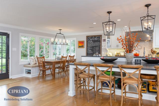 "Haddonfield, NJ - We took our clients small galley kitchen in Haddonfield, removed a structural wall, and added a supporting beam to totally open up her kitchen to the dining room and living room. It's now a beautiful open-concept kitchen that they love - ""This company provides excellent quality craftsmanship and sticks to the agreed upon time table. Highly recommend."""