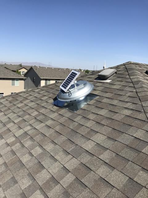 North Salt Lake, UT - Installed solar attic fan. Keeps attic cooler so your air conditioner doesn't have to run so much.