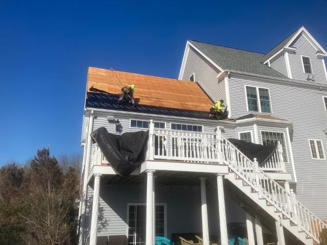 Mendon, MA - Our crew is working on a roof replacement!