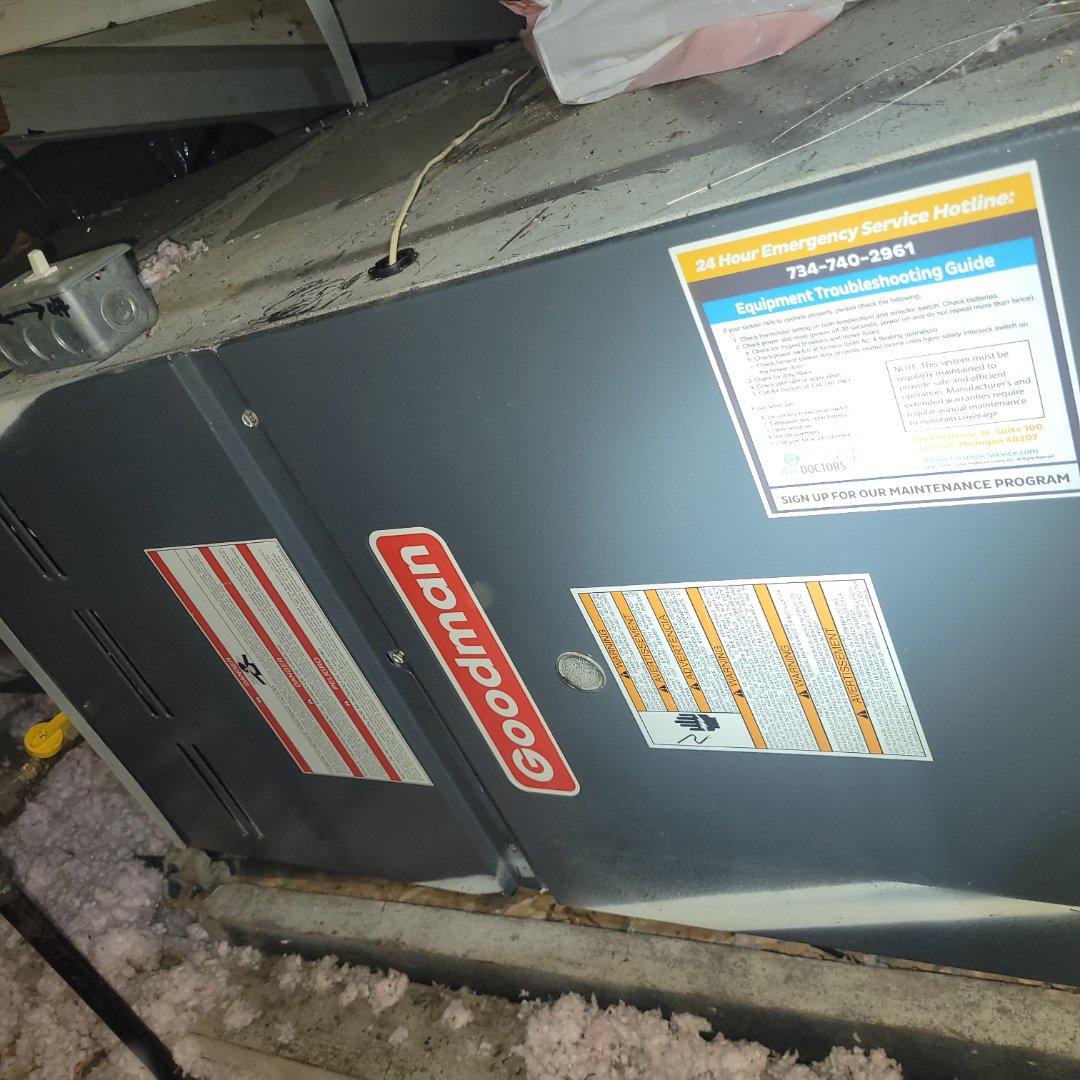 Southfield, MI - Goodman . Attic furnace repair . No heat