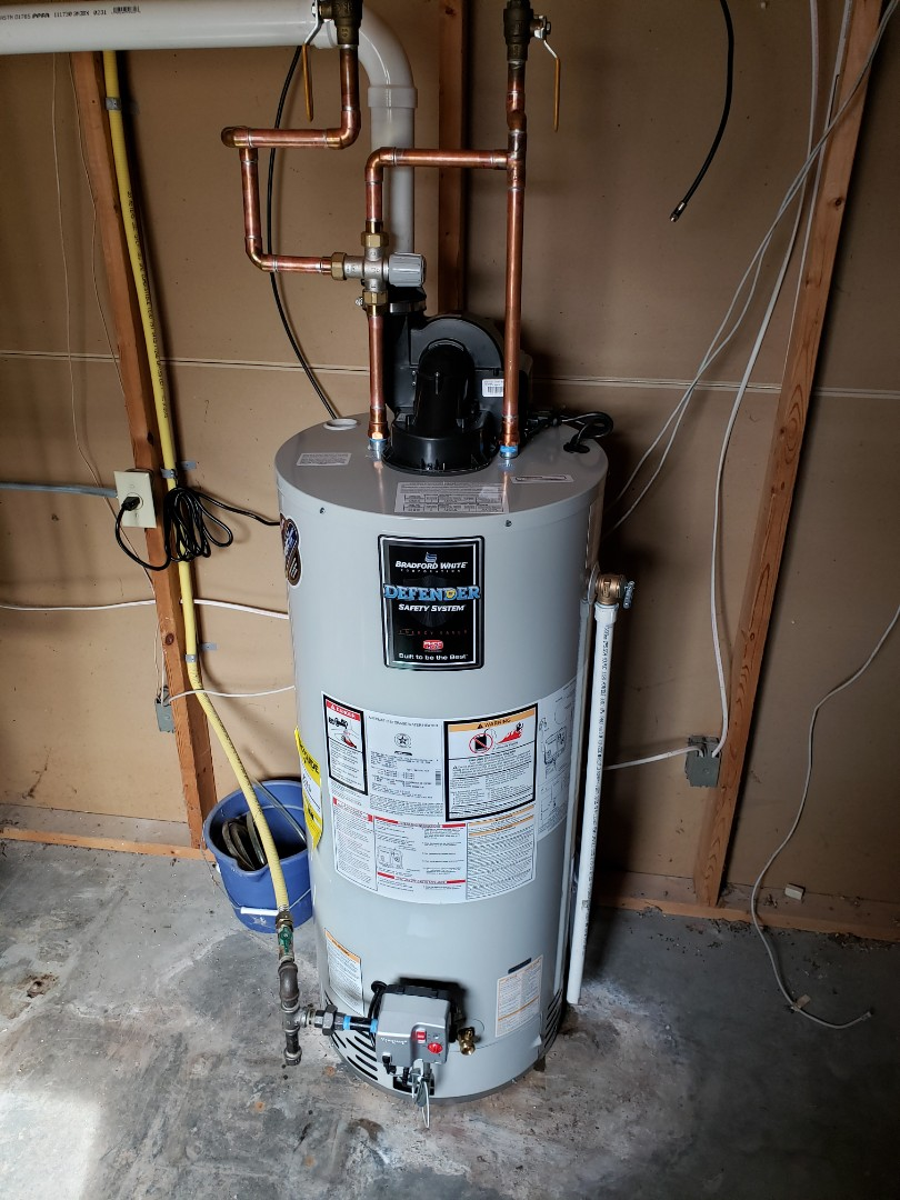 Dryden, NY - Replace leaking water heater with new Bradford White water heater. Also installed anti-scald valve. Set up and test operation