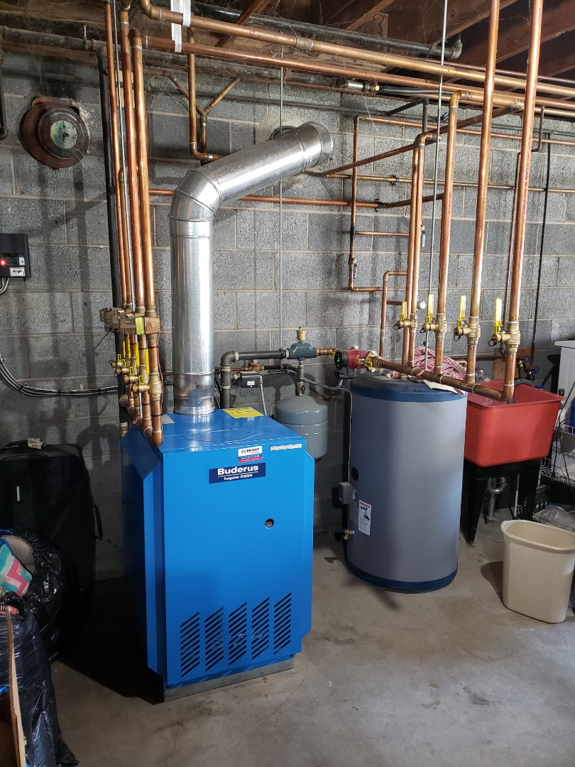 Cortland, NY - Planned maintenance on Comfort Technology installed gas fired Buderus boiler. Test safeties and combustion.