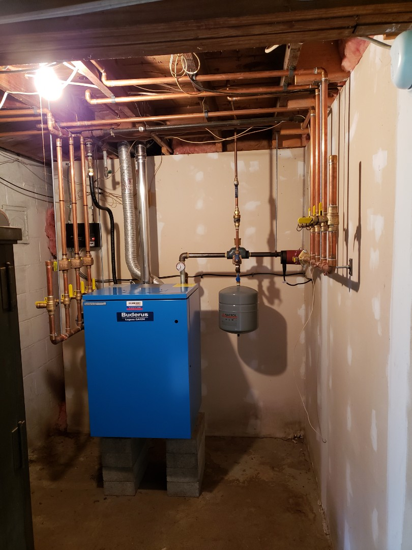 Groton, NY - Scheduled maintenance on Comfort Technology installed gas fired Buderus boiler.  Test safeties and combustion.