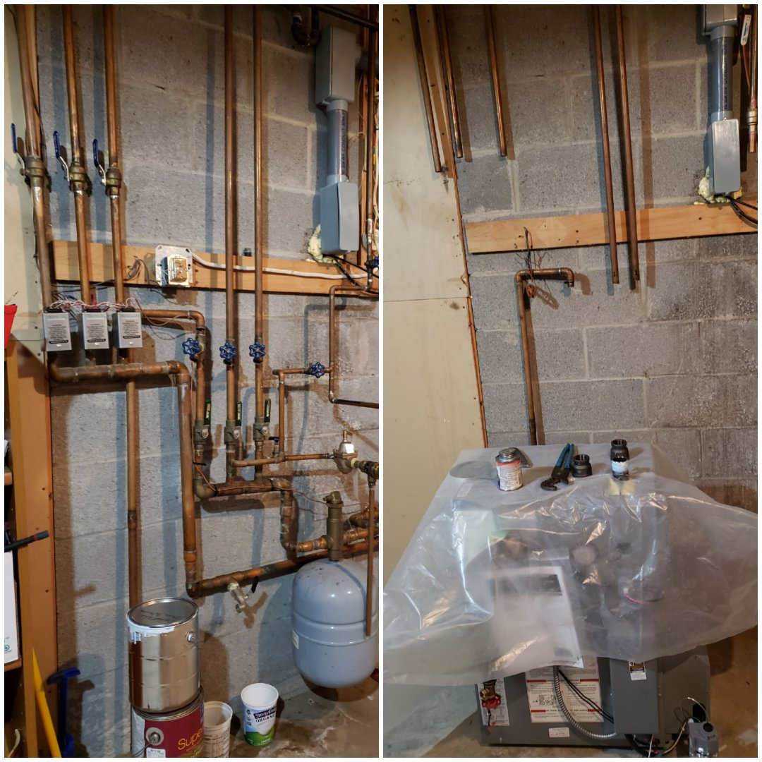 Ithaca, NY - Start installing new Utica gas boiler.