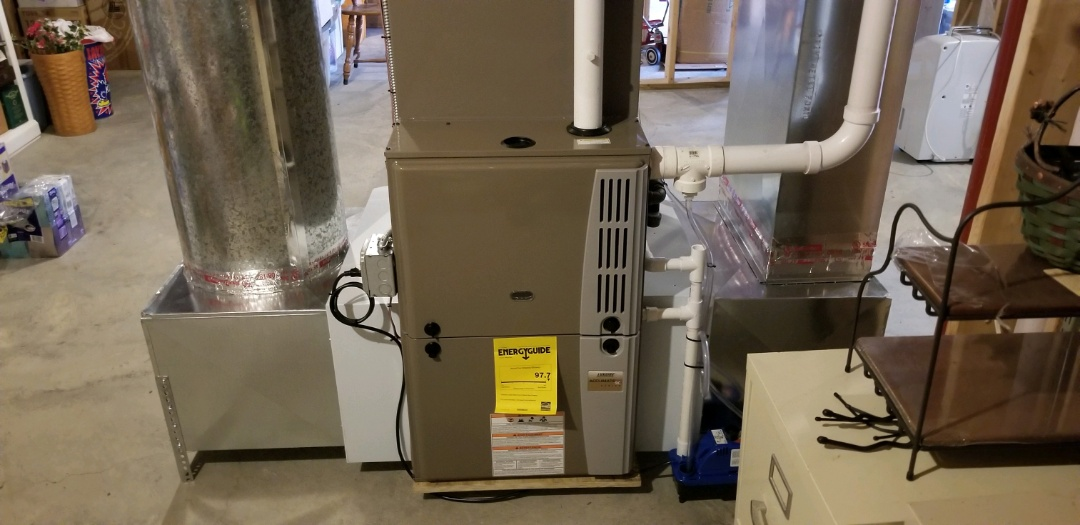 Ithaca, NY - Finish installation of furnace and air conditioner. (AC had a leak in the coil).
