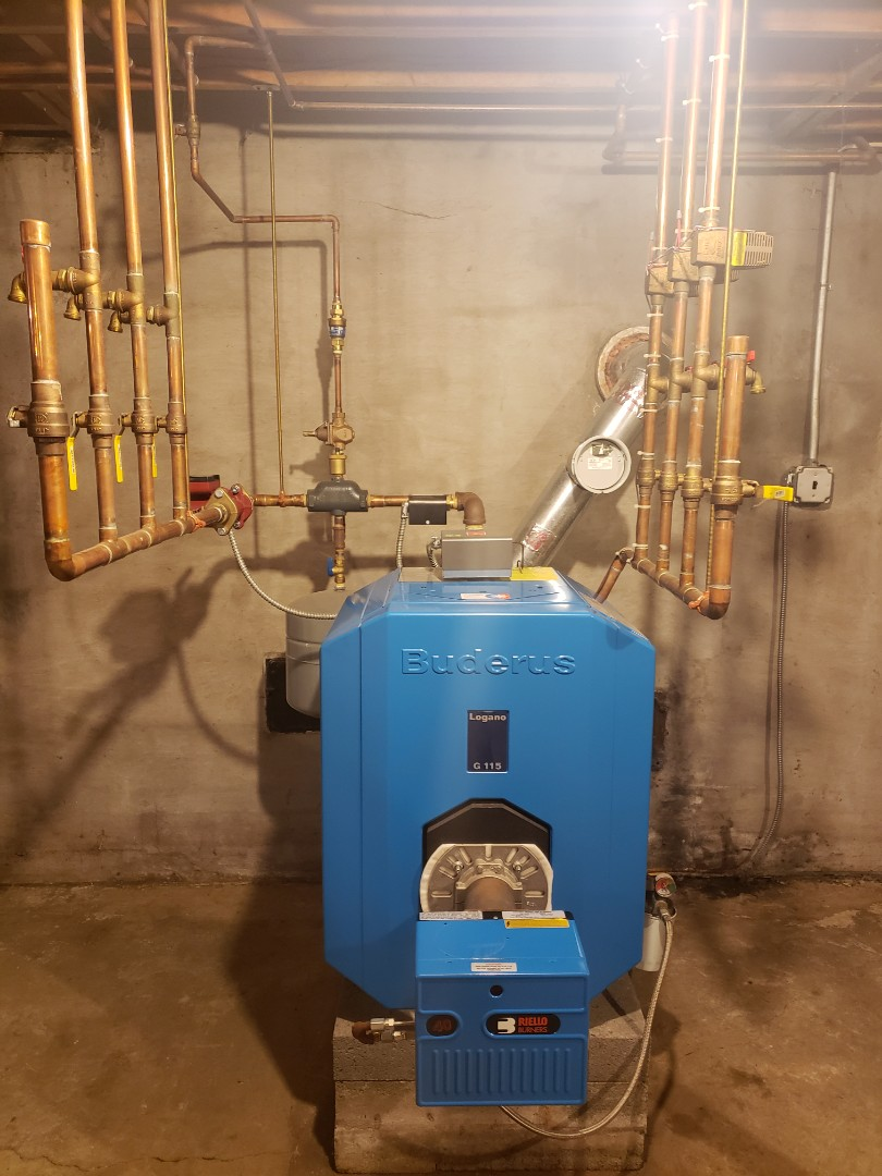 Cortland, NY - Planned maintenance on Comfort Technology installed oil fired Buderus boiler with Riello burner. Test safeties and combustion.