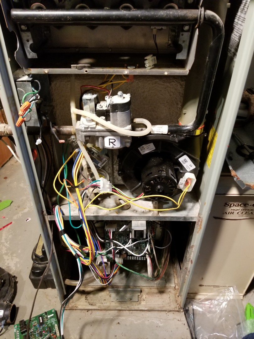 Ithaca, NY - Installing upgrade kit (inducer,control board, and wiring harness) on Trane XV90 high efficiency gas furnace.