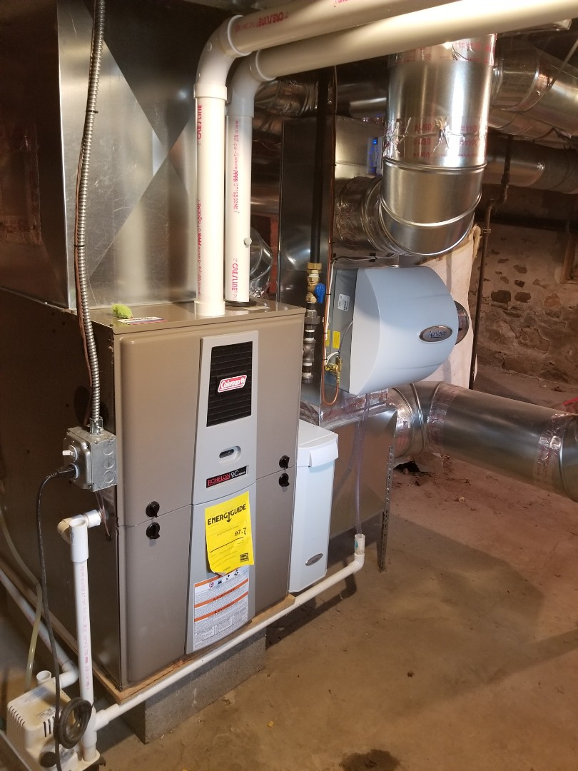 Dryden, NY - Planned maintenance on Comfort Technology installed, gas fired, high efficiency, midulating, Coleman furnace. Test safeties and combustion.