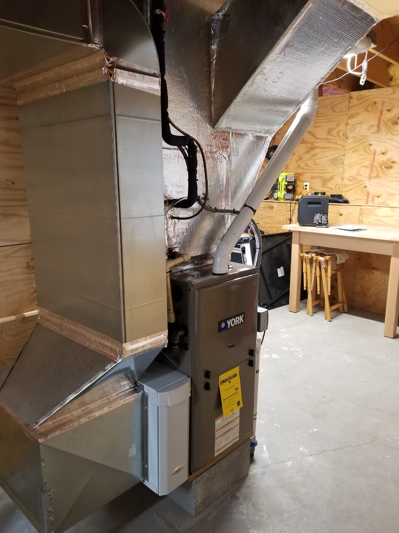 Ithaca, NY - Replaced failed furnace with high efficiency 2 stage York with ECM blower motor. Install high efficiency Aprilaire air cleaner. Test safeties and combustion.