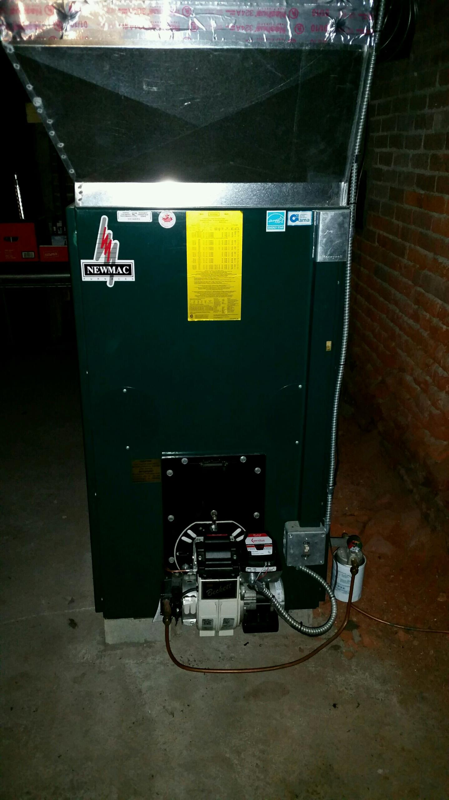 Locke, NY - Tune Comfort Technology installed oil fired Newmac furnace.