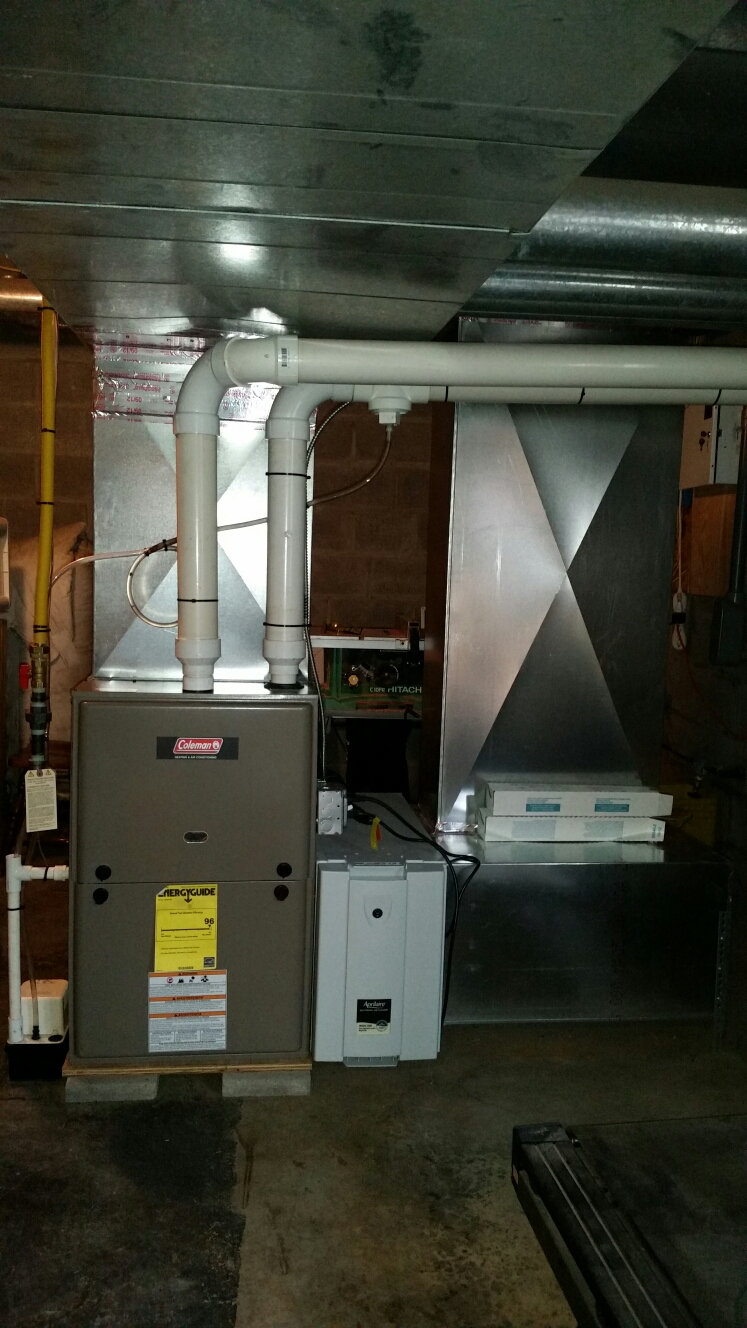 Berkshire, NY - Service Comfort Technology installed gas fired Coleman furnace.