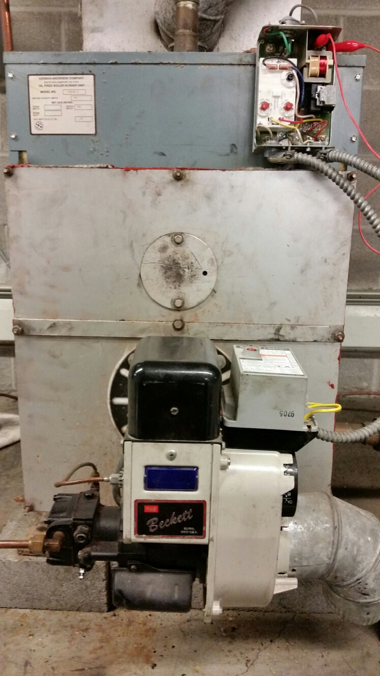 Brooktondale, NY - Planned maintenance on oil fired Axemen-Anderson boiler with Beckett AFII burner.